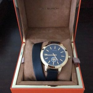 Tory Burch navy double wrap watch